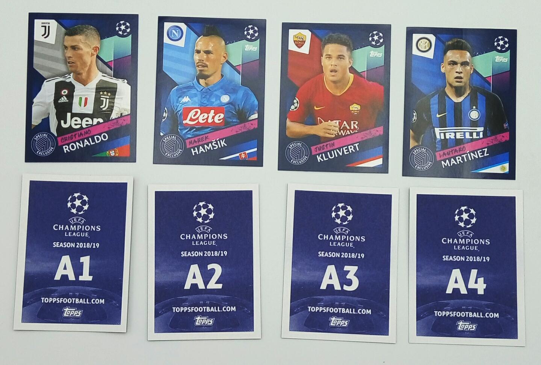Champions league 2018 2019 Set 4 Extra Stickers Topps A1 A2 A3 A4 esclusive