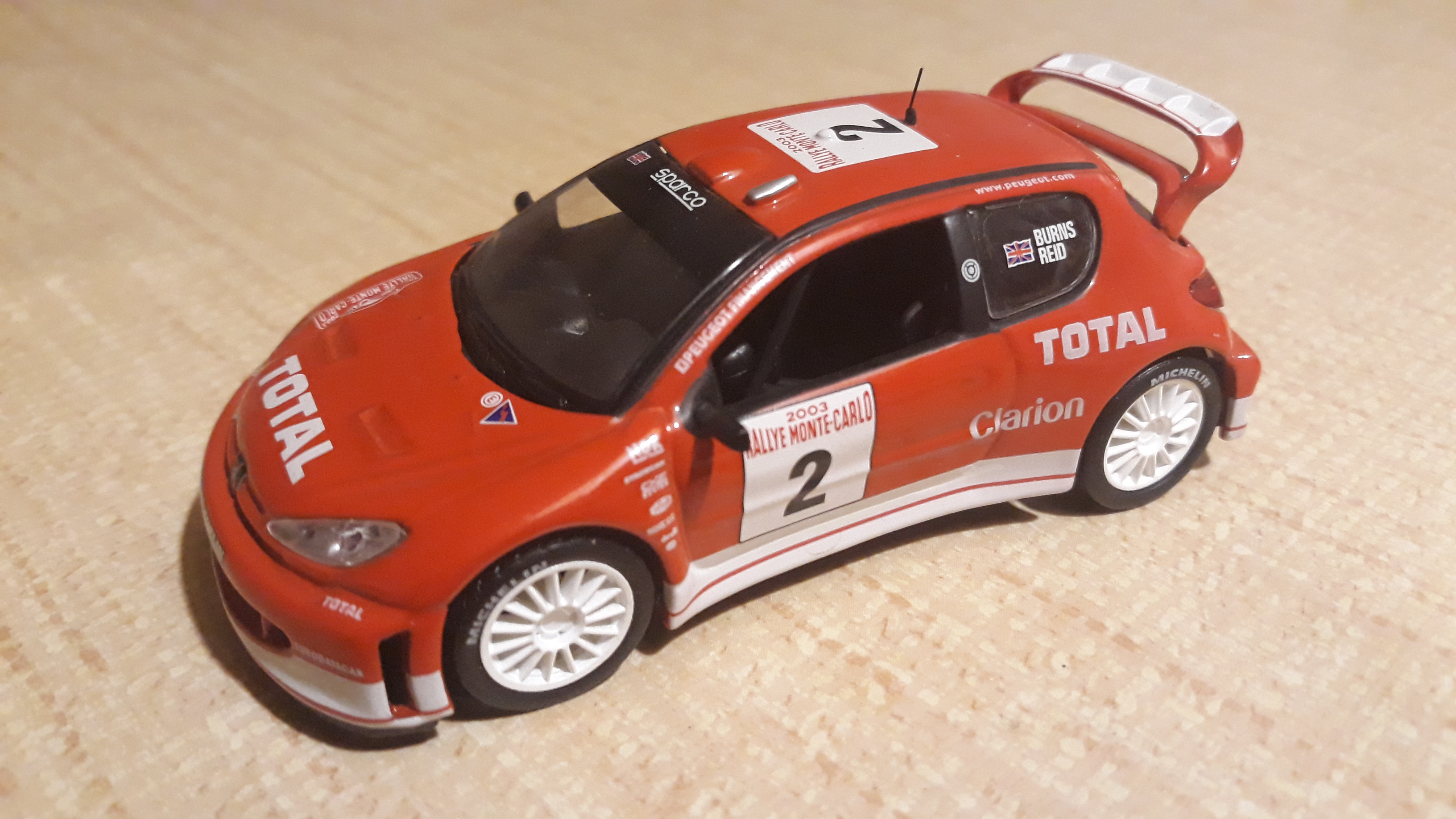 Die cast 1//43 Modellino Auto Peugeot 206 WRC Rally Monte Carlo 2003 C.Robert